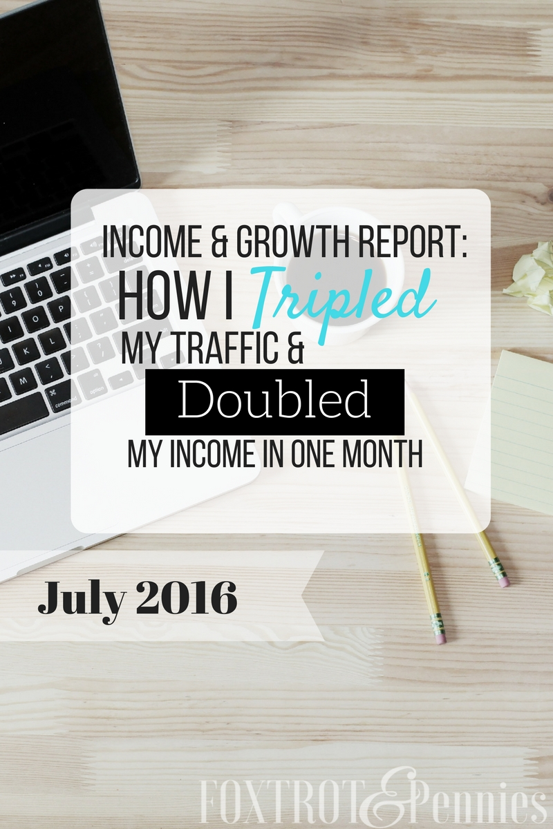 How I tripled my traffic and doubled my income in ONE month! July 2016 income and growth report.